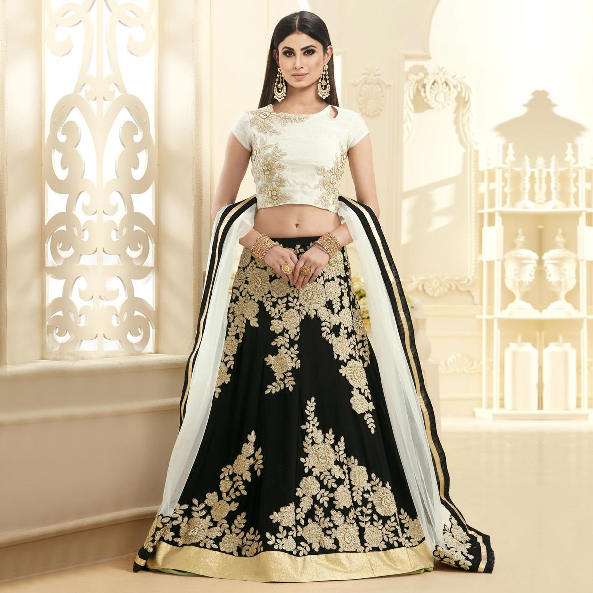 Unique Black-White Colored Designer Embroidered Georgette Lehenga Choli