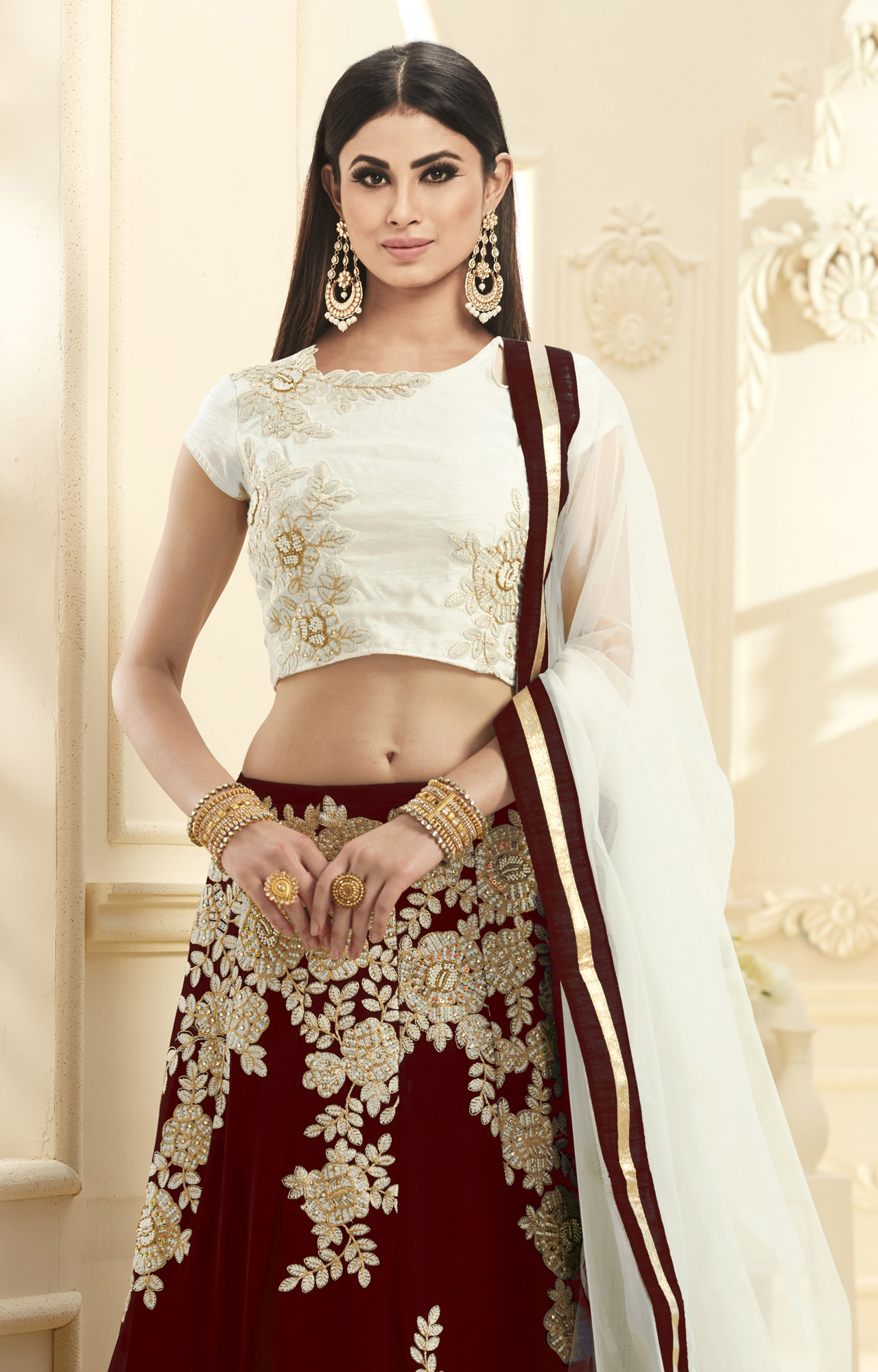 Elegant Maroon-White Colored Designer Embroidered Georgette Lehenga Choli