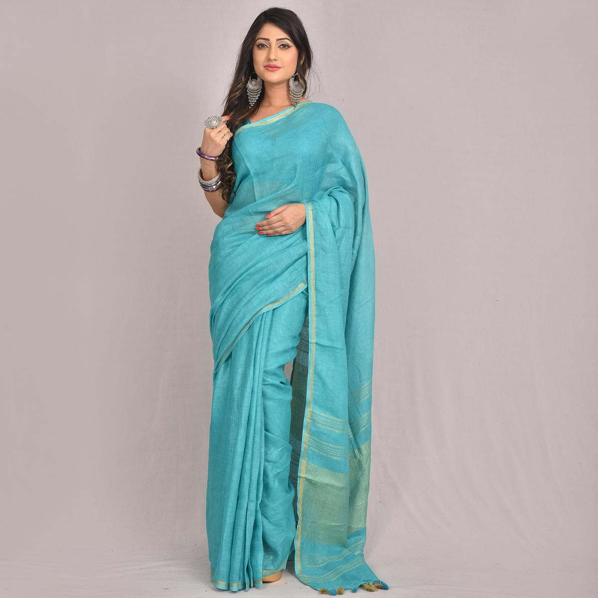 Kihums - Turquoise Hand Woven Linen Saree With Blouse Piece