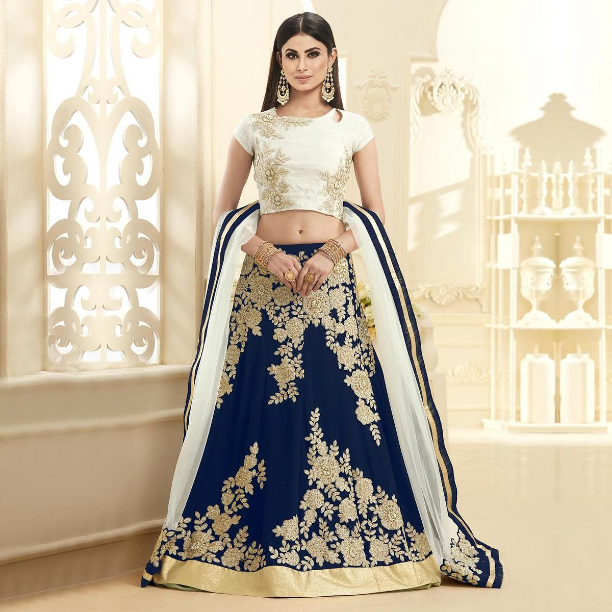 Dazzling Navy Blue Colored Designer Embroidered Georgette Lehenga Choli