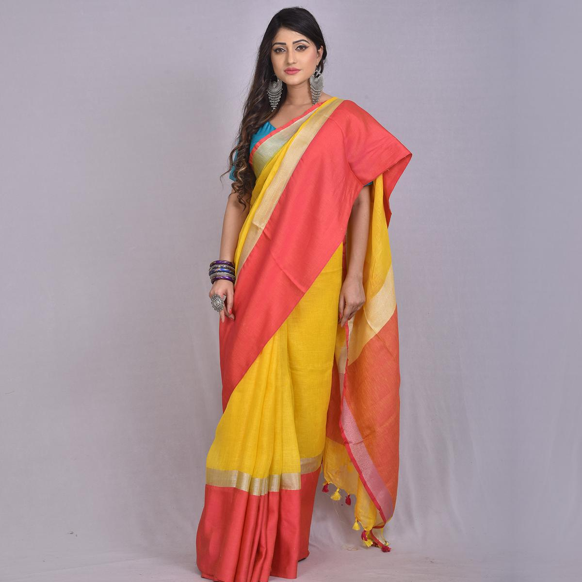 Kihums - Sunny Yellow Hand Woven Linen Saree With Blouse Piece