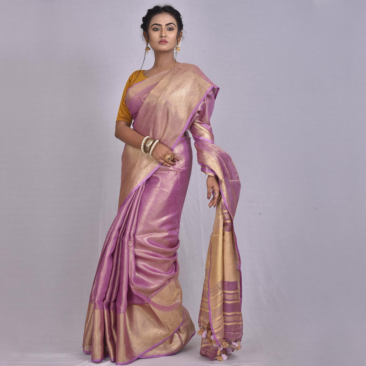 Kihums - Lavender Hand Woven Tissue Linen Saree With Blouse Piece