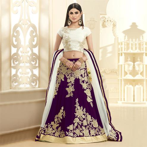 Mesmerising Magenta Colored Designer Embroidered Georgette Lehenga Choli
