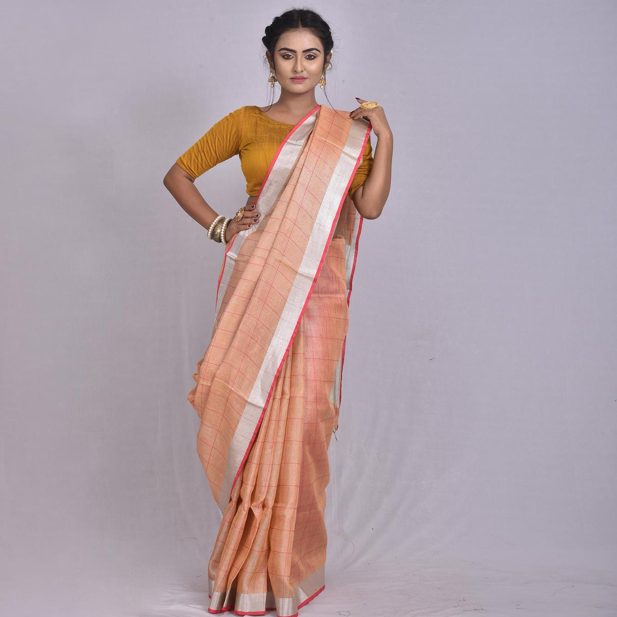 Kihums - Cantaloupe Hand Woven Tissue Linen Saree With Blouse Piece