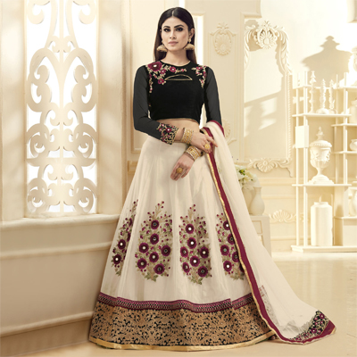Breathtaking Off White-Black Colored Designer Embroidered Netted Lehenga Choli
