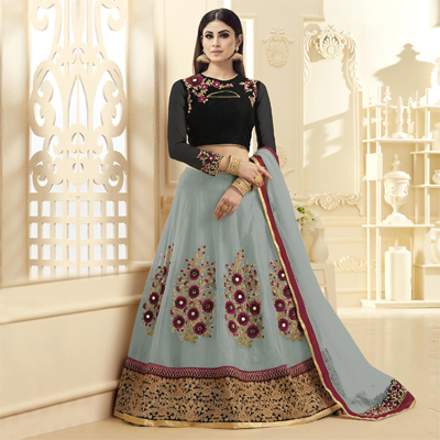 Attractive Grey-Black Colored Designer Embroidered Netted Lehenga Choli