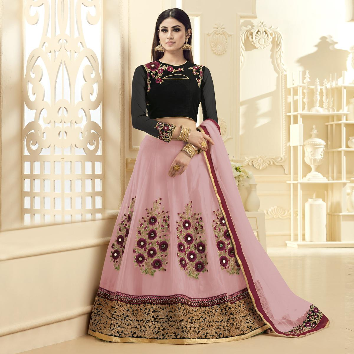 Eye-Catching Pink-Black Colored Designer Embroidered Netted Lehenga Choli