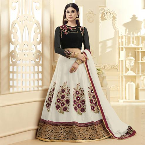 Mystic White-Black Colored Designer Embroidered Netted Lehenga Choli