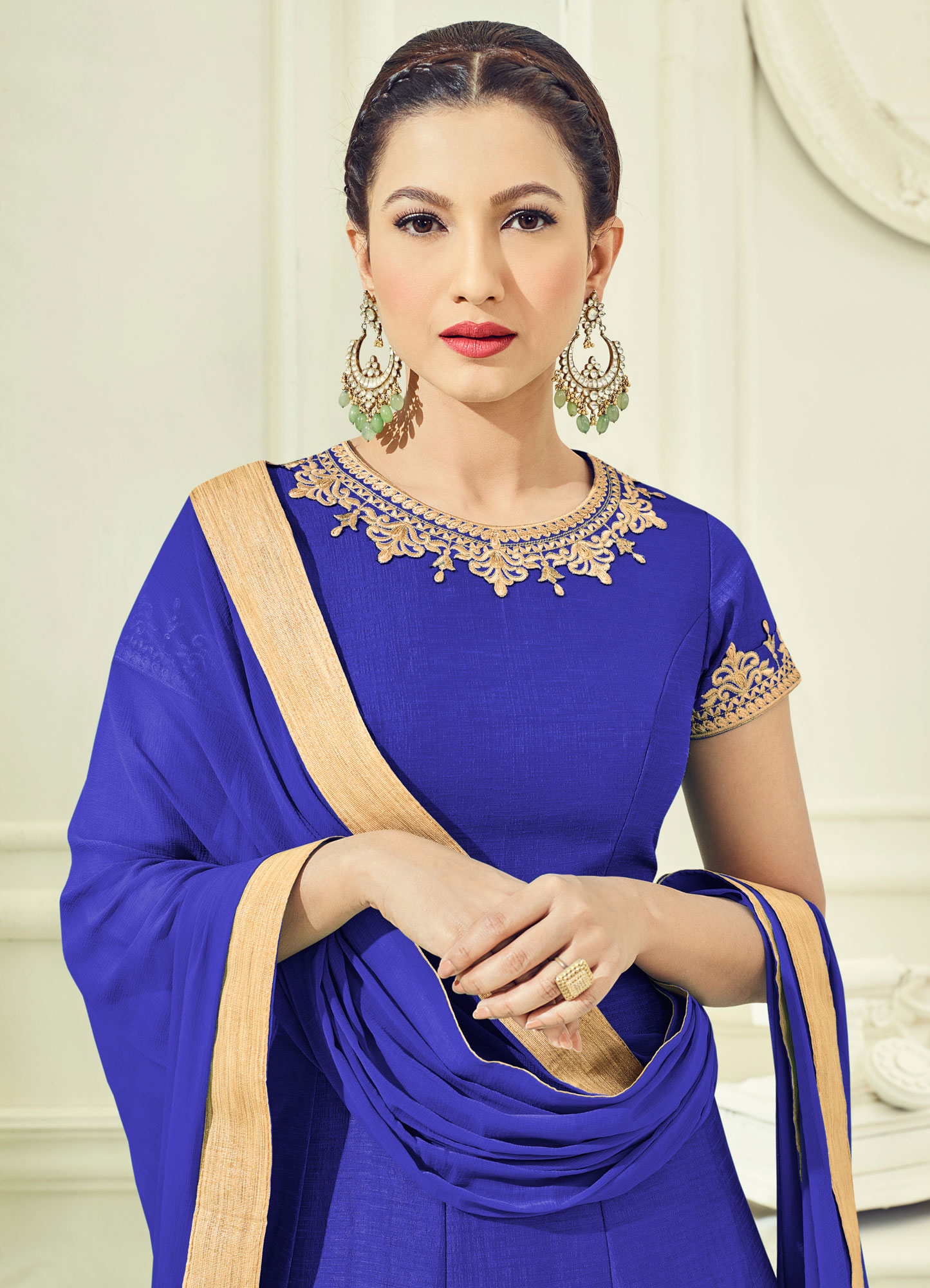 Awesome Navy Blue Colored Partywear Embroidered Two Tone Silk Anarkali Suit