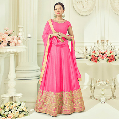 Majestic Pink Colored Partywear Embroidered Two Tone Silk Anarkali Suit