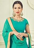 Trendy Turquoise Green Colored Partywear Embroidered Two Tone Silk Anarkali Suit