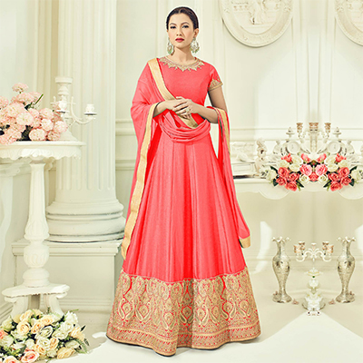 Glorious Red Colored Partywear Embroidered Two Tone Silk Anarkali Suit