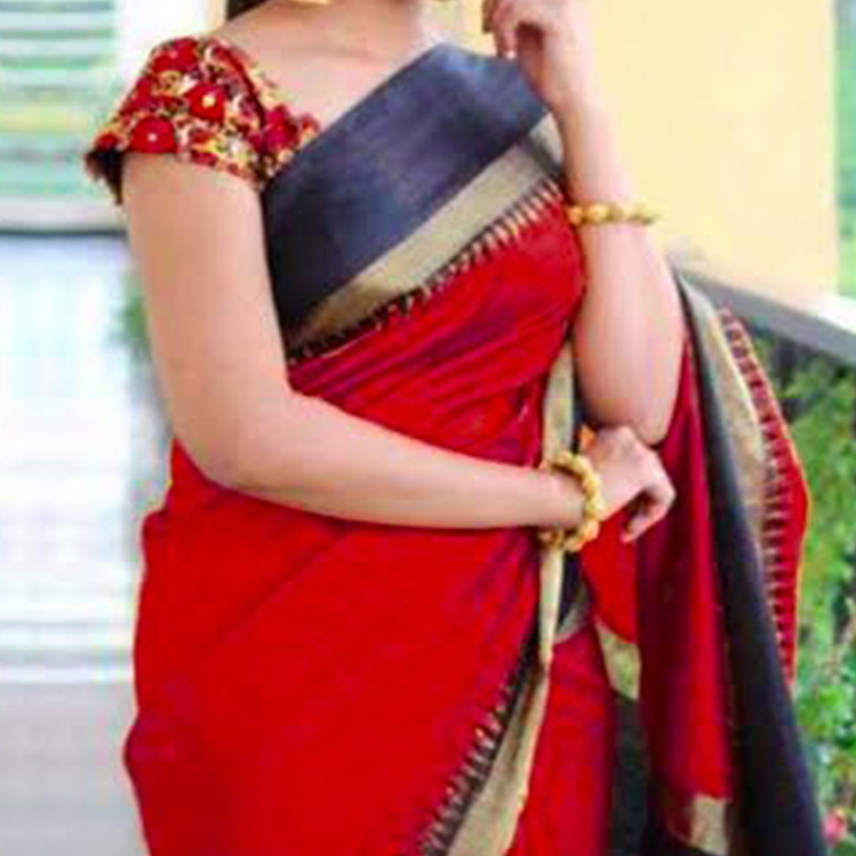 Red - Black Saree with Embroidered Blouse