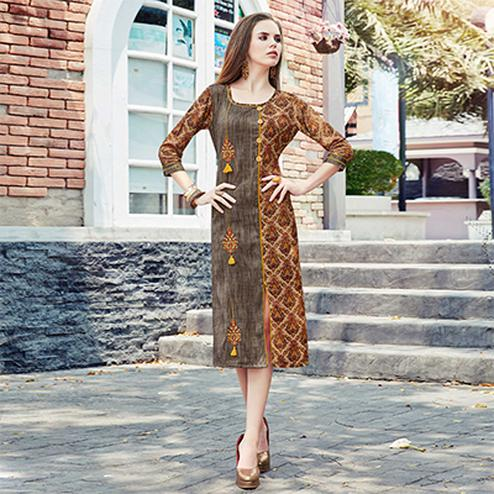 Unique Grey-Brown Colored Casual Printed Cotton Kurti