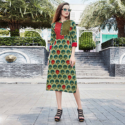 Sensible Green Colored Casual Printed Cotton Kurti