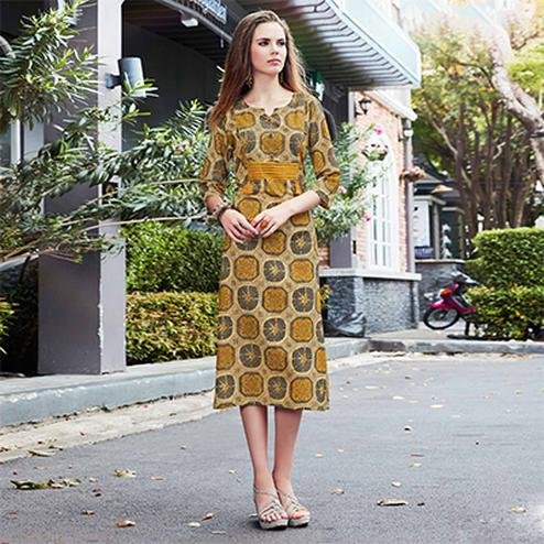 Pleasant Yellow Colored Casual Printed Cotton Kurti