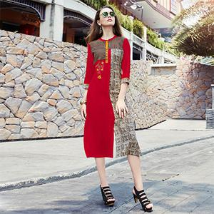 Exciting Red Colored Casual Printed Cotton Kurti
