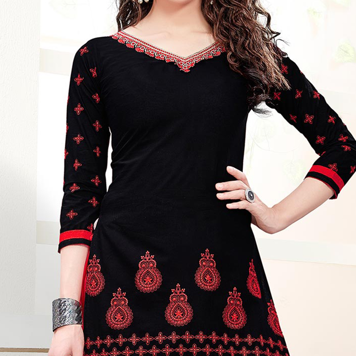 Black - Red Embroidered Patiala Suit