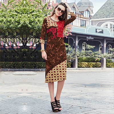 Enchanting Brown-Grey Colored Casual Printed Cotton Kurti