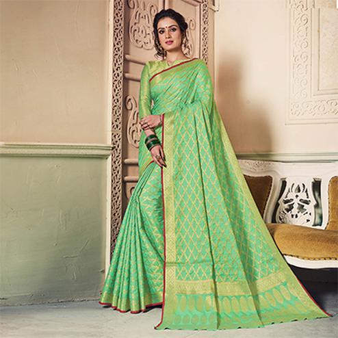 Rich Pista Green Colored Festive Wear Weaving Work Handloom Silk Saree