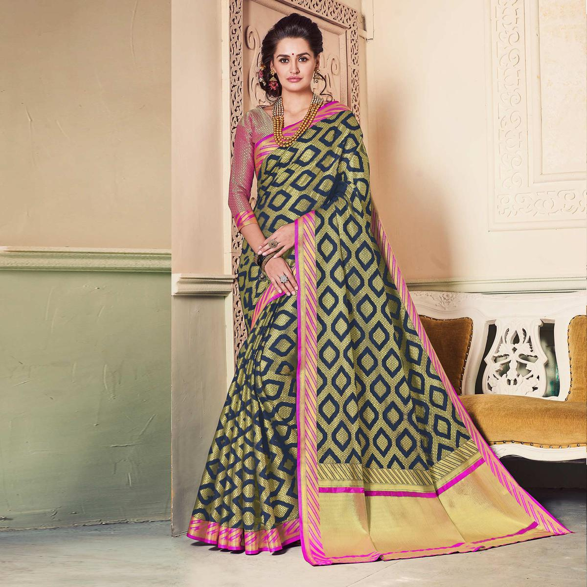 Adorable Beige Colored Festive Wear Weaving Work Handloom Silk Saree