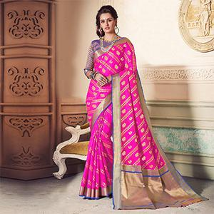 Radiant Pink Colored Festive Wear Weaving Work Handloom Silk Saree