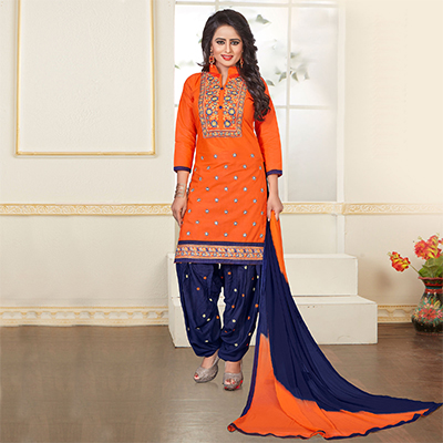 Orange - Navy Blue Embroidered Patiala Suit