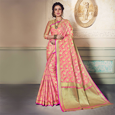 Delightful Pink Colored Festive Wear Weaving Work Handloom Silk Saree