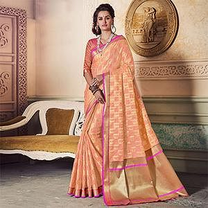 Gorgeous Peach Colored Festive Wear Weaving Work Handloom Silk Saree