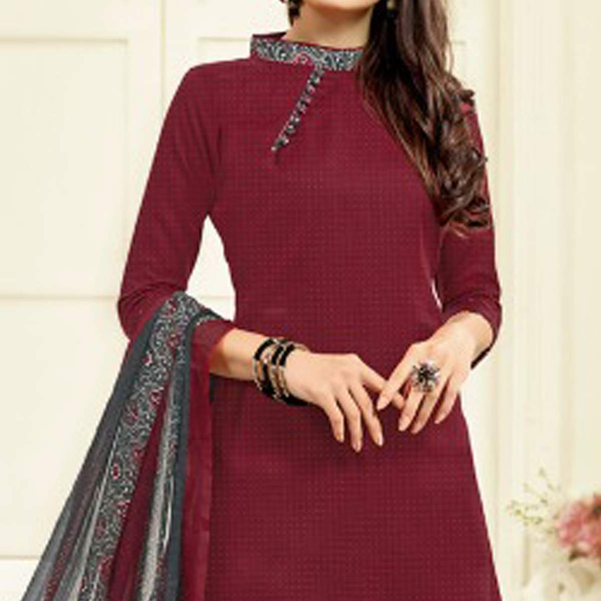 Maroon-Grey Colored Casual Wear Printed Cotton Patiala Suit