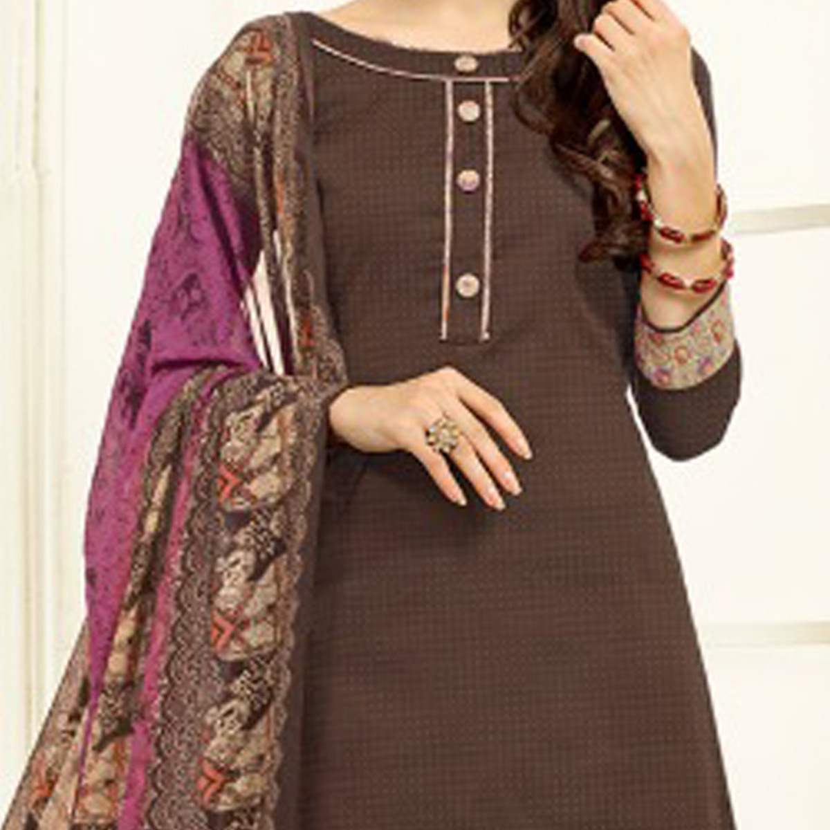 Brown-Beige Colored Casual Wear Printed Cotton Patiala Suit