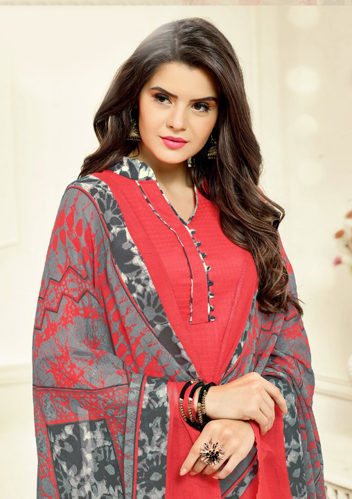 Pink-Grey Colored Casual Wear Printed Cotton Patiala Suit