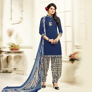Blue Colored Casual Wear Printed Cotton Patiala Suit