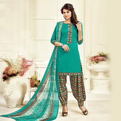 Turquoise Colored Casual Wear Printed Cotton Patiala Suit