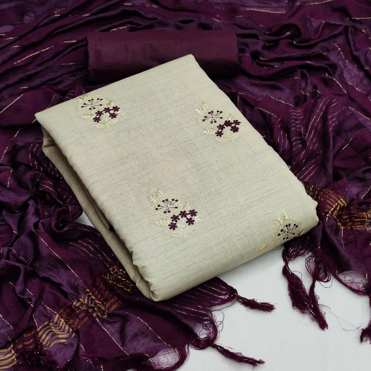 Offwhite - Wine Casual Wear Embroidered Khadi Cotton Dress Material
