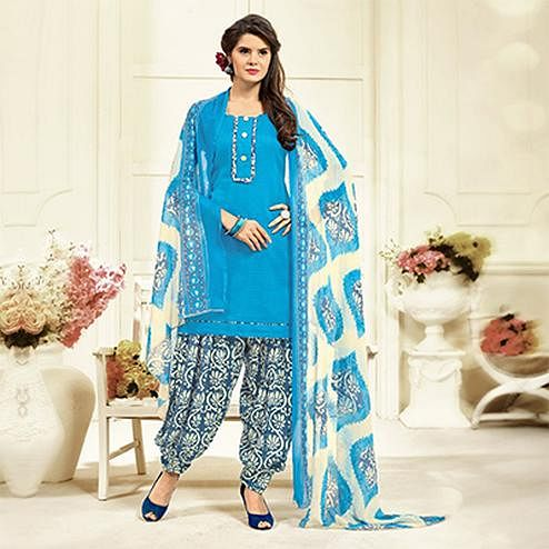 Sky Blue Colored Casual Wear Printed Cotton Patiala Suit