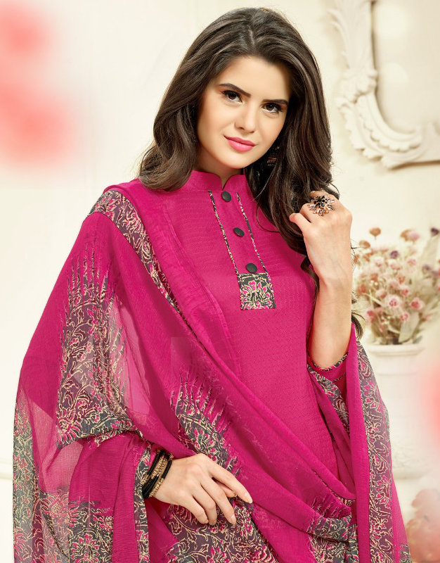 Pink Colored Casual Wear Printed Cotton Patiala Suit