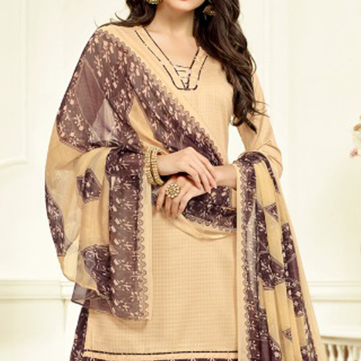 Beige-Brown Colored Casual Wear Printed Cotton Patiala Suit