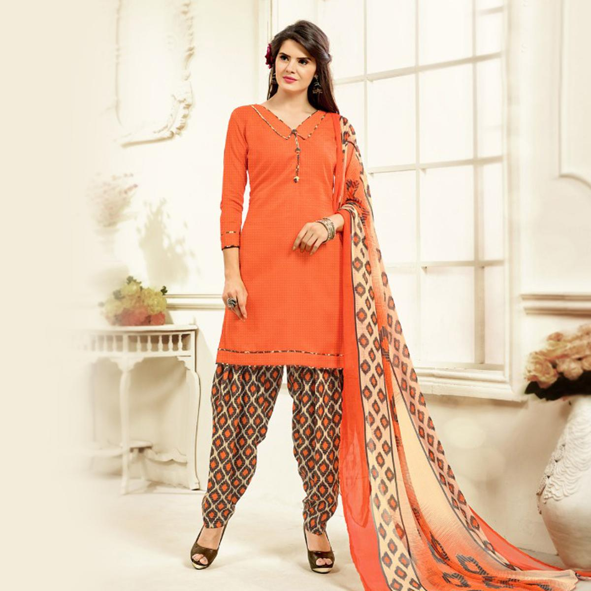 Orange Colored Casual Wear Printed Cotton Patiala Suit