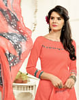 Dark Peach Colored Casual Wear Printed Cotton Patiala Suit