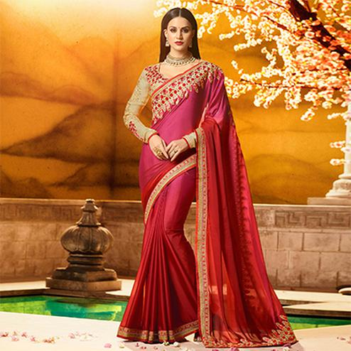 Marvellous Magenta Colored Partywear Embroidered Rangoli Silk Saree