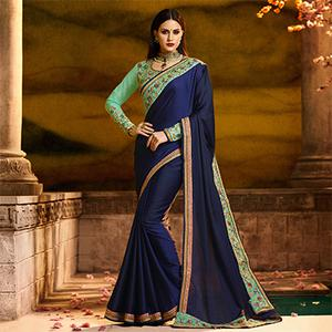 Adorning Navy Blue Colored Partywear Embroidered Barfi Silk Saree