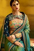 Deserving Green Colored Partywear Embroidered Barfi Silk Saree