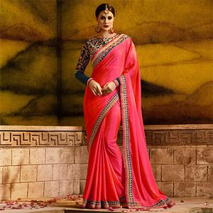 Extraordinary Pink Colored Partywear Embroidered Rangoli Silk Saree