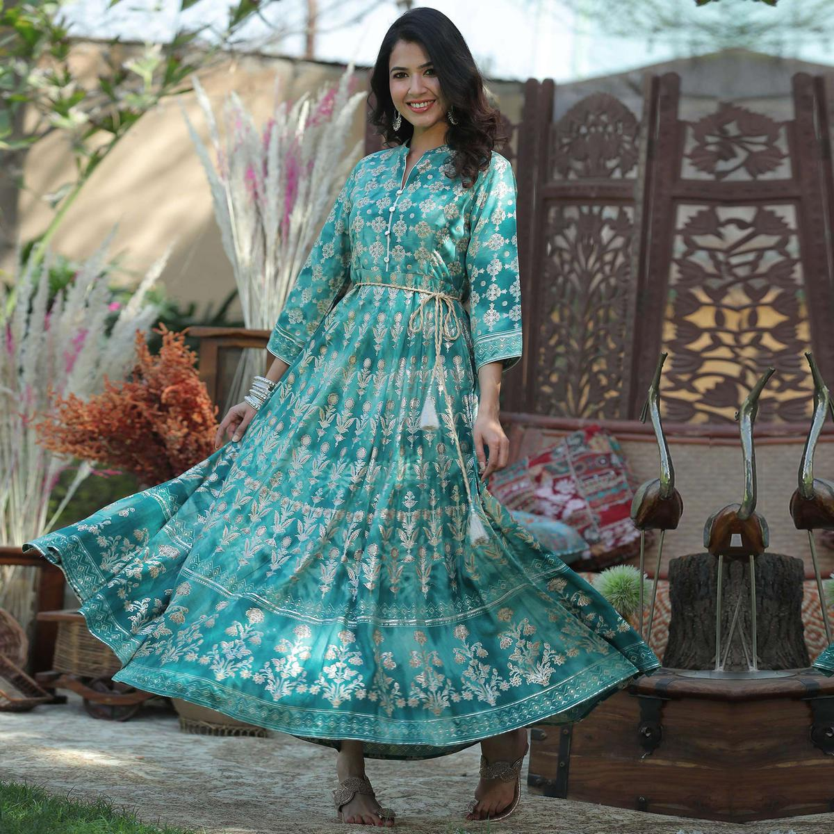 Juniper - Teal Rayon Printed Flared Dress With Waist Tie-up