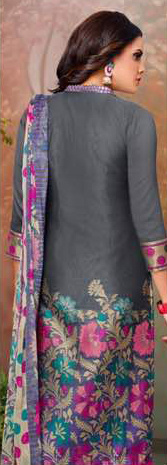 Dark Grey Printed Cotton Suit