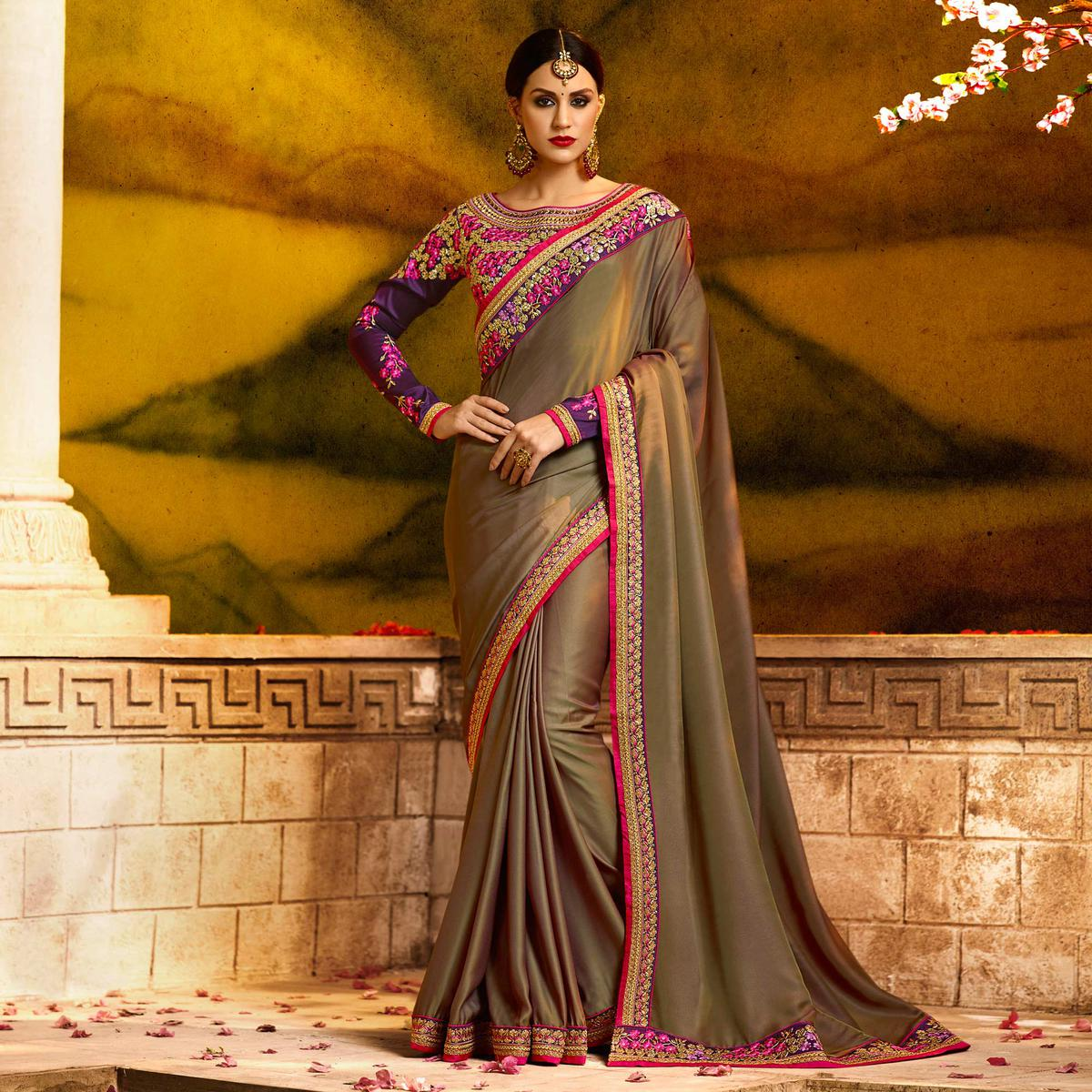 Energetic Brown Colored Partywear Embroidered Silk Saree