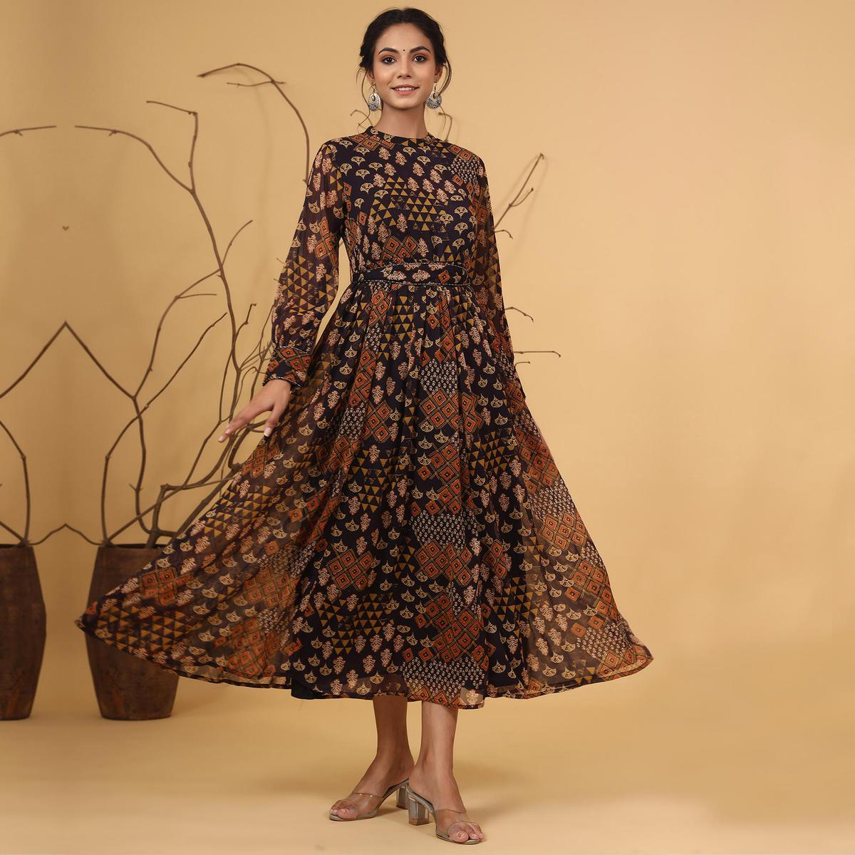 Juniper - Multi Chiffon  Flared Printed Dress With Tie-up Blet