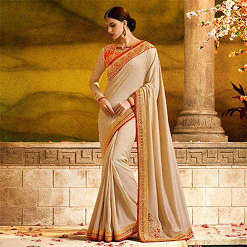 Awesome Beige Colored Partywear Embroidered Magic Silk Saree