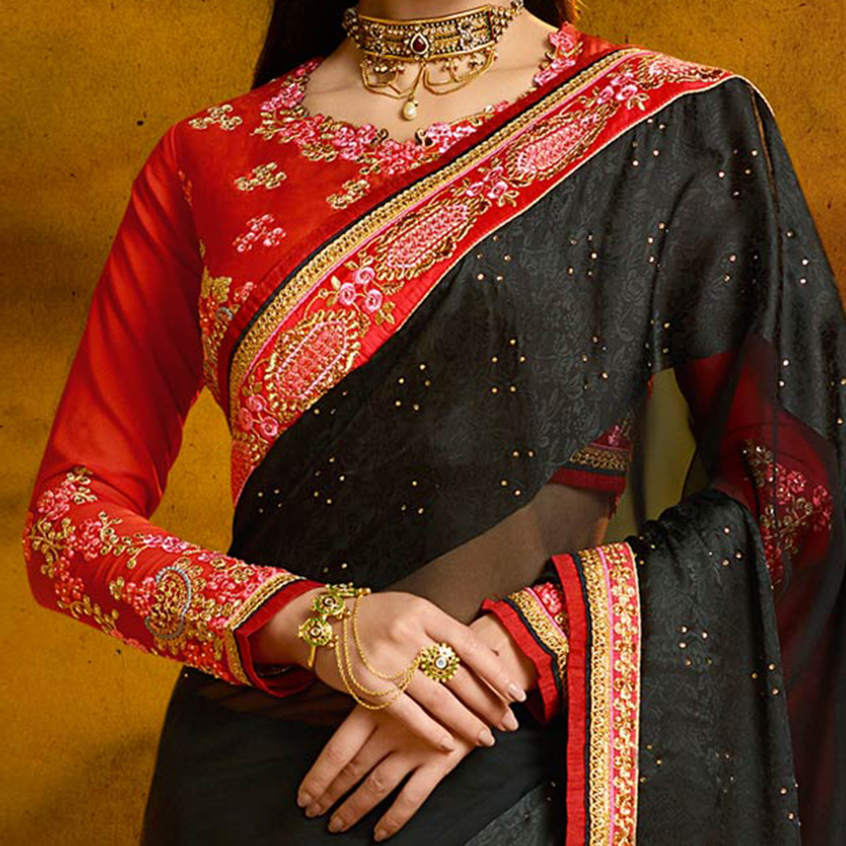 Capricious Black Colored Partywear Embroidered Jacquard Saree